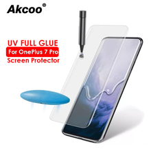Akcoo 10D UV Glass for OnePlus 7 Pro Screen Protector with fingerprint Unlock Tempered Oneplus 7Pro protective film