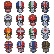 SKULL SPAIN FLAG RUSSIA USA Israel canada patch Spanish UK National Flag Tactical Morale Military Espana Patch Applique(China)