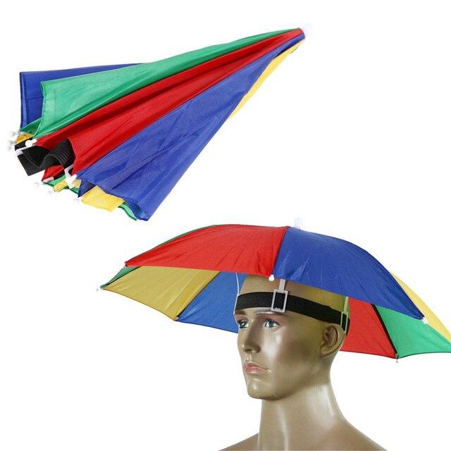 50 st cke regenschirm hut golf angeln camping headwear cap regen sonnenschirm tragen kopf. Black Bedroom Furniture Sets. Home Design Ideas