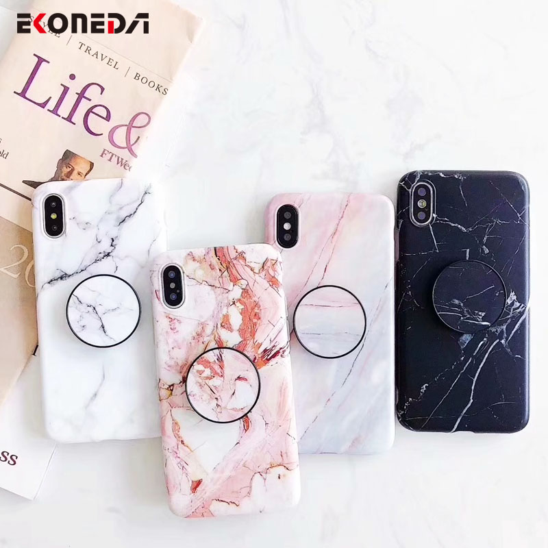 EKONEDA Soft Marble Patterned Case For Iphone 6 6S 7 Plus Phone Holder Case Matte Silicone Cover For Iphone 8 Plus X