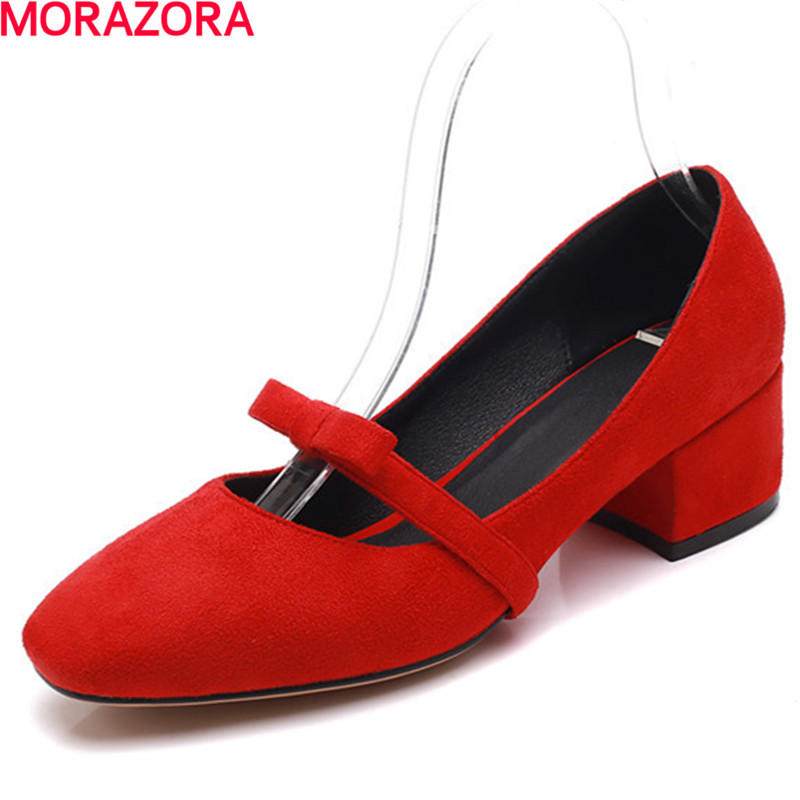 MORAZORA new bowknot square toe spring female pumps shallow slip on high heels square heel sweet wedding shoes ladies shoes gold chain party 2017 spring summer casual shallow slip on square toe bling square heels women pumps free ship mujer pantufa