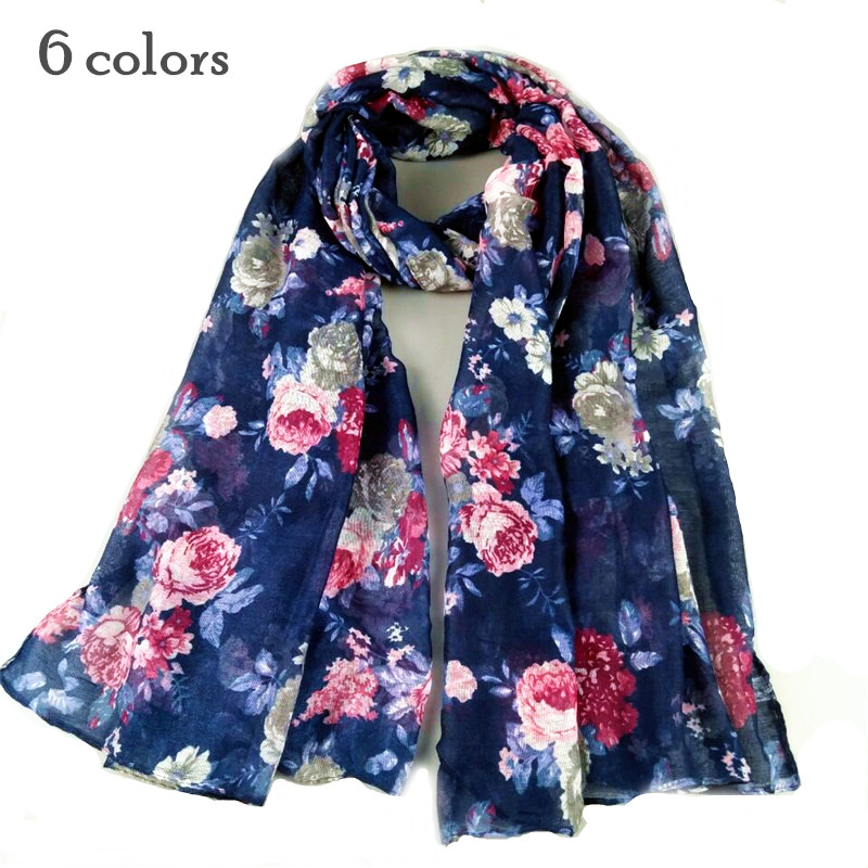 Pretty Women flower pattern Scarf shawl voile soft essential muslim hijab Shawl print echarpe Fashion scarves flowers blooming