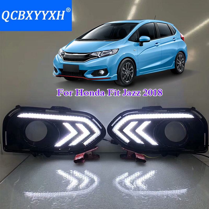 QCBXYYXH 12V Car Styling 2pcs DRL For Honda Fit Jazz 2018 White Turn Yellow Signal Relay LED Daytime Running Light Waterproof 2pcs led white yellow daytime running lights drl for honda fit jazz 2014 2015