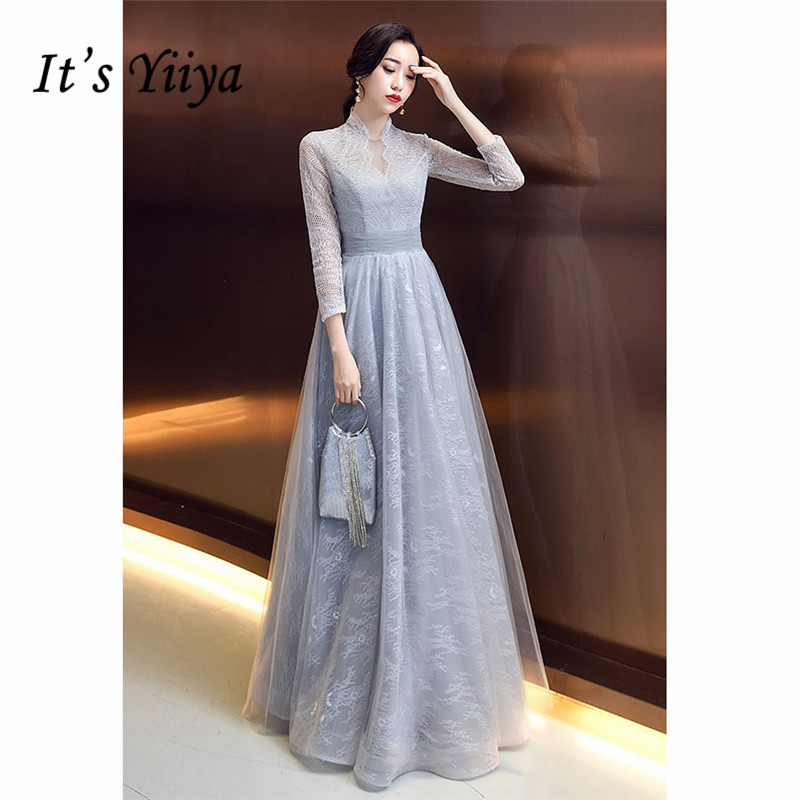 It's YiiYa Evening Dress 2019 Formal Hollow-out Printing Tulle Long Women Party Dress High Collar Robe De Soiree Plus Size E505