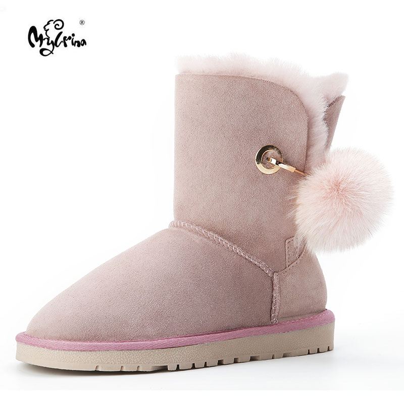 MYLRINA High Quality Genuine Sheepskin Leather Australia Classic 100% Wool Snow Boots Women Boots Warm winter shoes for women uvwp 2017 genuine sheepskin leather snow boots for women 100