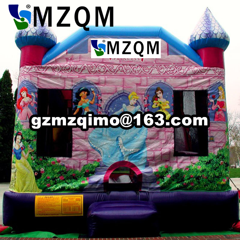 size 4.5X4X3.6m Princess castle bounce house inflatable slide guangzhou funny princess castle jumper inflatable princess bouncy castle princess style bed
