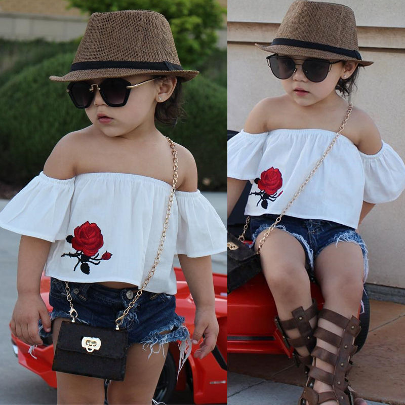 441821a9edc44 T shirt Tops Short Sleeve Cute Shirt Shorts Jeans 2pcs Clothing Outfits Kid  Toddler Baby Girl Clothes Sets Off shoulder-in Clothing Sets from Mother &  Kids ...