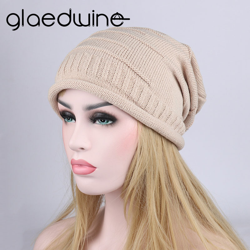 Glaedwine new Autumn Winter Kniting Hat for Women and Girls Solid Warm Soft hip hop Caps Women Female fashion Knit Beanie Hats