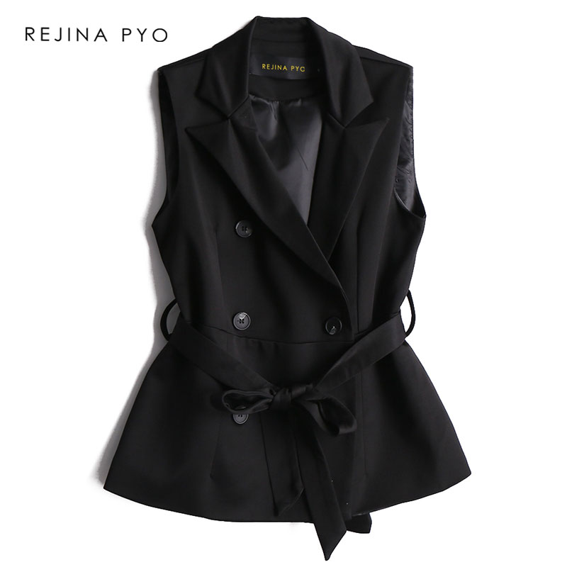 BIAORUINA Women Fashion Black Double Breasted Vest Coat with Sashes Office Lady Sleeveless Jacket Turn-down Collar Spring Vest