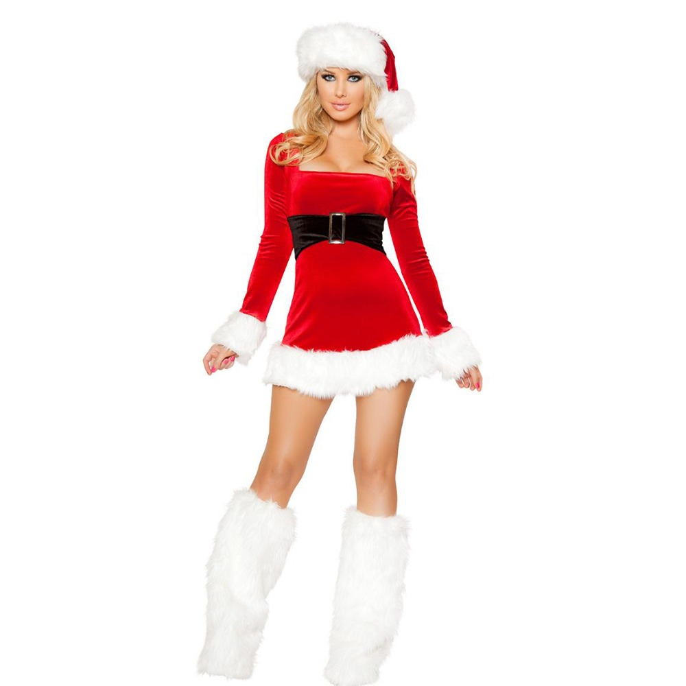 Hot see!Long sleeve Cute Miss Santa Christmas Costumes Femail Christmas Clothes Sexy Santa Claus Costumes for Women sexy Uniform