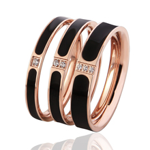 1 Piece Top Quality Famous Brand Women Rings 3 Sizes Enamel And Crystal Ring Elegant And Beautiful Rose Gold Color Wedding Bands