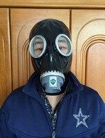 100% Natural Latex FULL RUBBER GASMASK Fetish Suffocation Cosplay Mask Head Hood