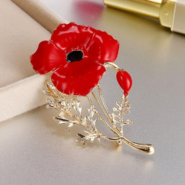 Oppohere Enamel Red Poppy Bros Bunga Pin Fashion Perhiasan Bros Pernikahan Memorial Terbaik Bros Perhiasan Hadiah untuk Wanita