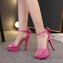 Korean fine with sandals female summer open-toed high heels bow stiletto Roman sandals
