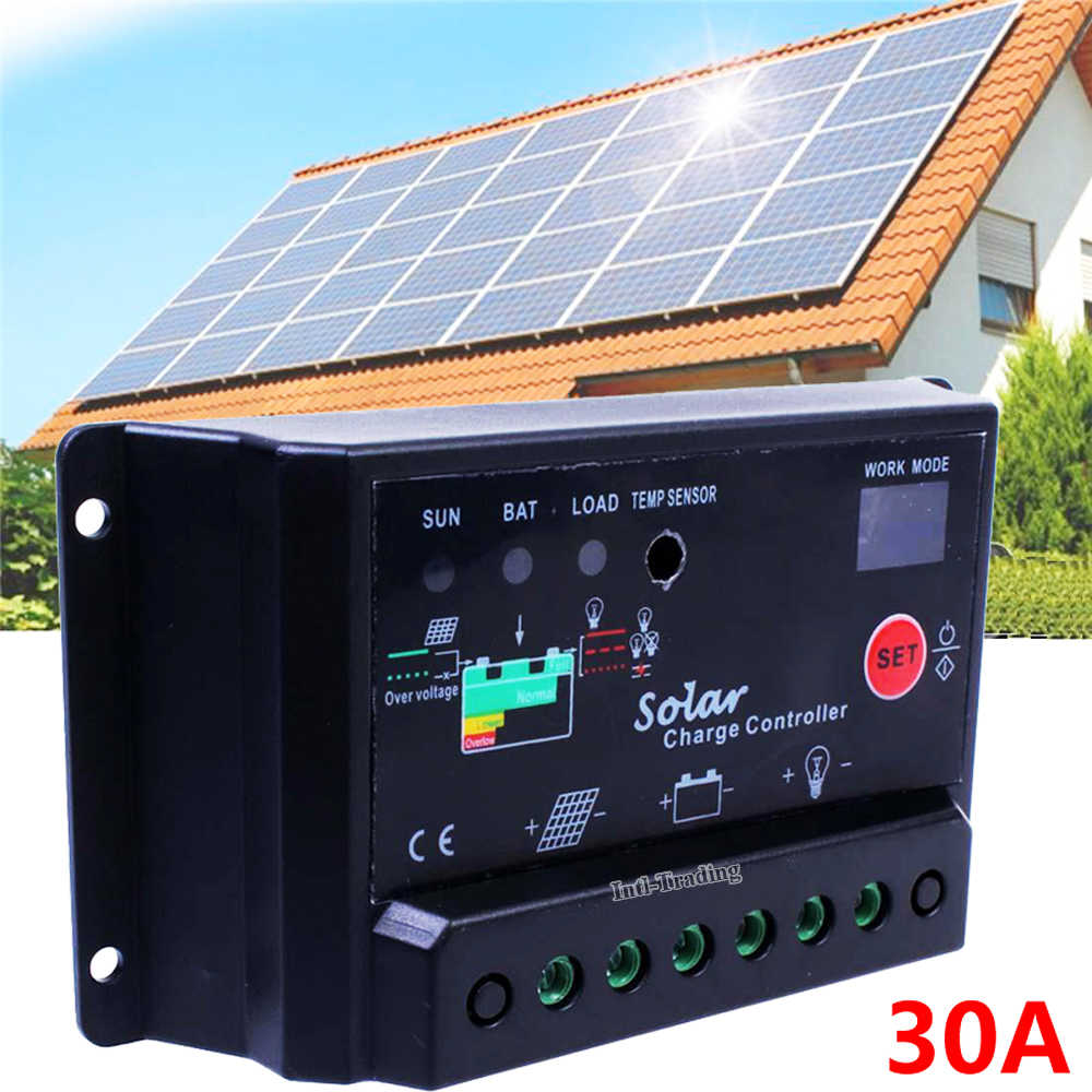 PWM 30A AMP В 12 В в/24 В Intelligent Solar Charge control ler solar panel battery Regulator W/Light & Timer control защита от перегрузки