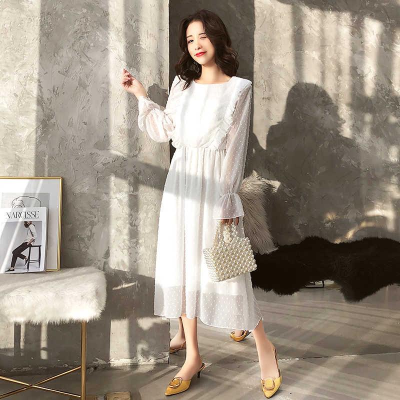 2 слоя оборками в горошек Женское вечернее платье Высокая талия с расклешенными рукавами женский белый Vestidos Винтаж ТРАПЕЦИЕВИДНОЕ женское платье 2019