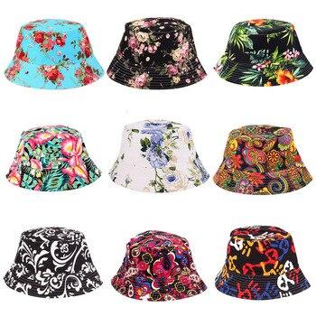 Kobiety kapelusz czapki letni mężczyzna kapelusz typu bucket wakacje plaża odkryty płaski czapka mężczyzna kwiatowy kapelusz słońce czapki wędkarskie Hip Hop Panama Cap