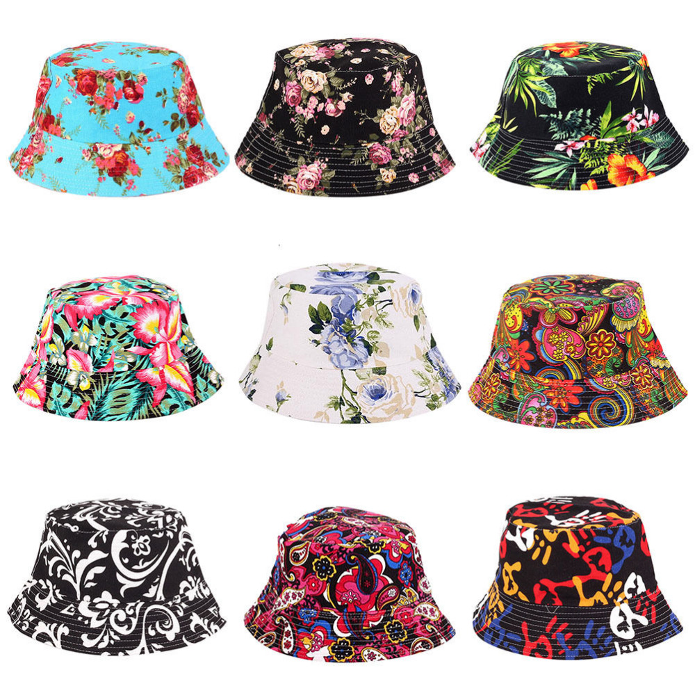 Women Hat Caps Summer Men Bucket Hat Holiday Beach Outdoor Flat Cap Male Floral Sun Hat Fishing Hats Hip Hop Panama Cap