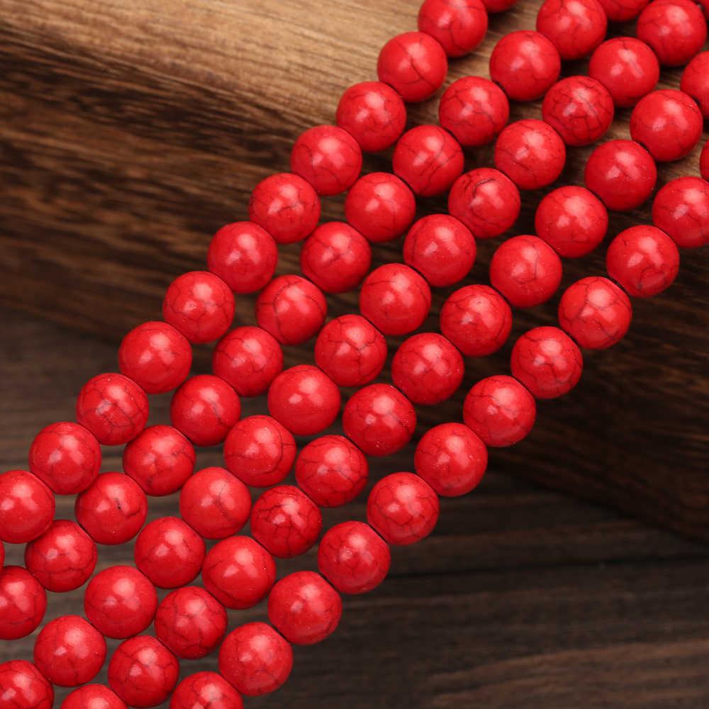 """Merah Turquoises Bead Cocok Diy Kalung Gelang Batu Alam 4 6 8 10 12 Mm 15 """"Strand Manik-manik untuk membuat Perhiasan"""