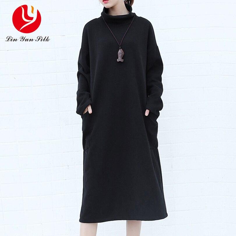 Fashion Winter women long turtleneck loose casual dress,Plus size black gray Autumn Knitted sweater dress Vestido