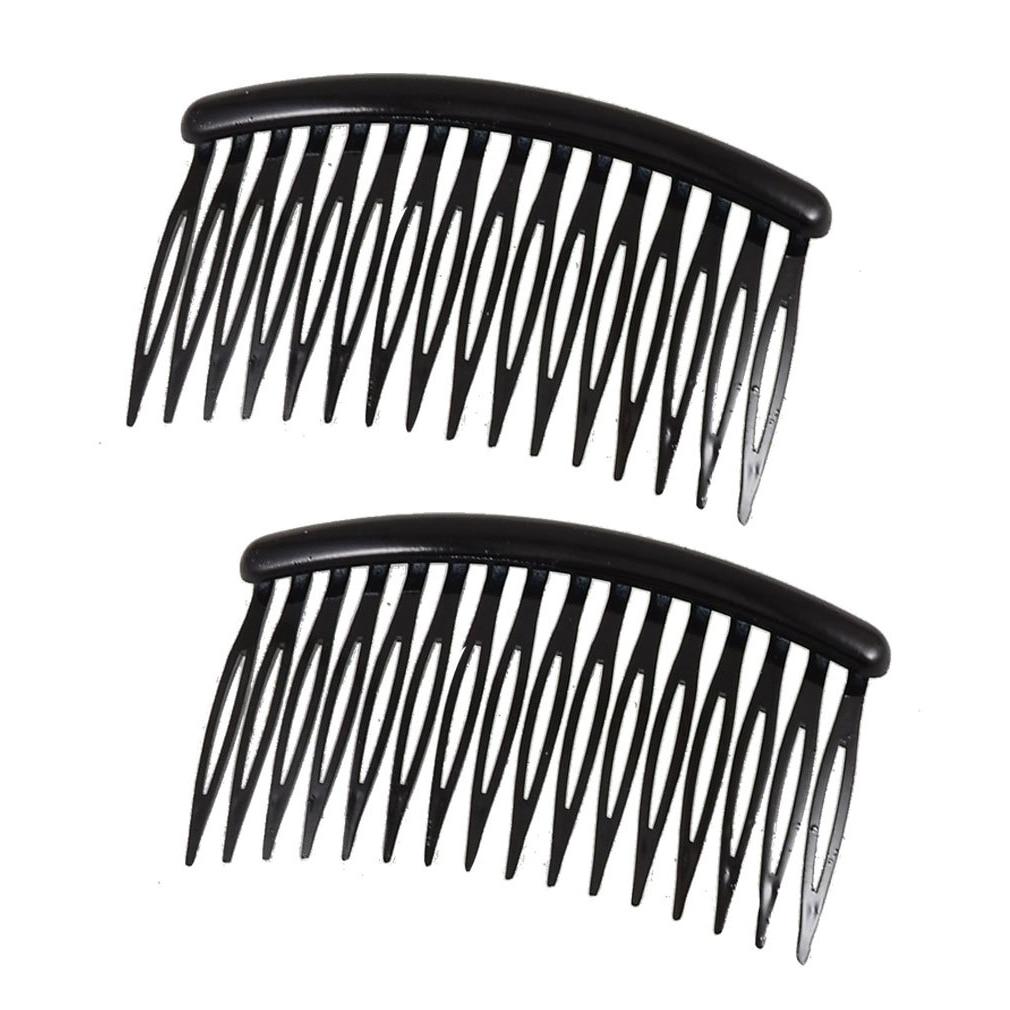 Women 16 Teeth Black Plastic Comb Hair Pin Clip 3.1