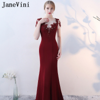 JaneVini Vestidos Burgundy Mermaid Mother of Bride Dress Sheer Scoop Neck Lace Appliques Beaded Satin Sweep Train Lange Jurken
