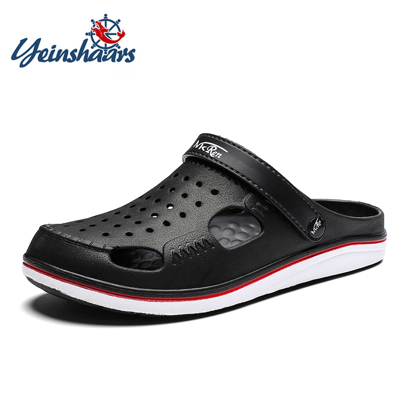YEINSHAARS Brand Big Size 39-45 Croc Men Black Garden Casual Aqua Clogs Hot Male Band Sandals Summer Slides Beach Swimming Shoes