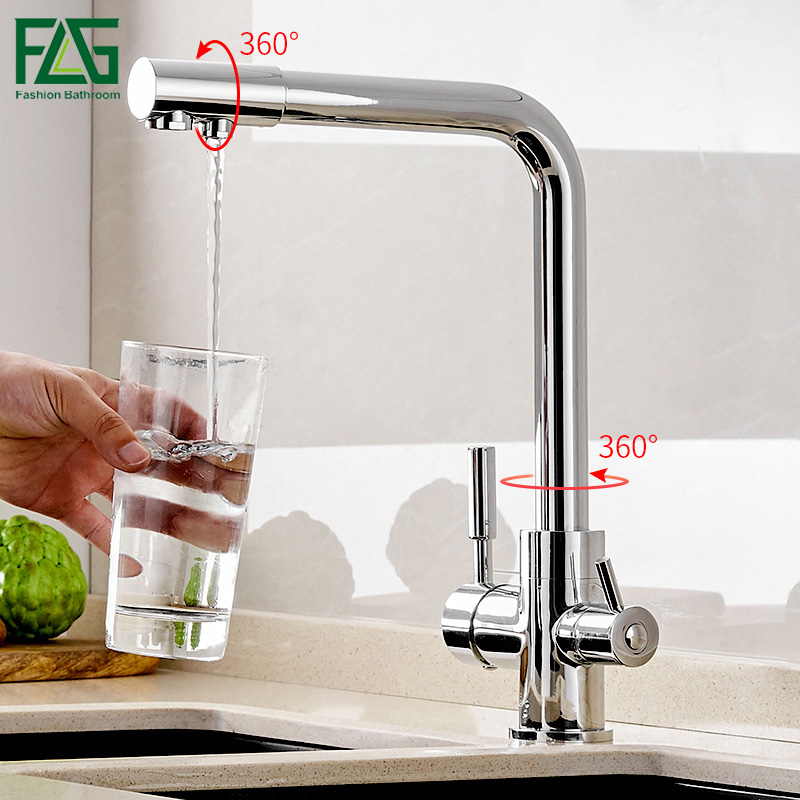 FLG kitchen faucets drinking water filter faucet Kitchen mixer brass tap 360 Rotation with Water Purification Features sink taps hi fi speaker