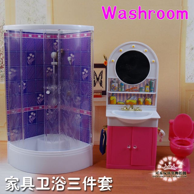 New Arrival Cute BathRoom Doll Accessories Furniture For Barbie Doll  Christmas/Birthday Gift Children Play