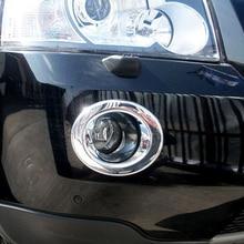 الشحن مجانا جودة عالية ABS كروم الجبهة مصابيح ضباب غطاء تقليم الضباب غطاء مصباح تقليم ل فريلاندر 2 LR2