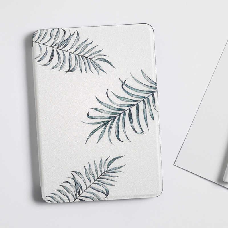Miękka pokrywa dla etui na Kindle'a Paperwhite zielone liście inteligentny Tablet Capa dla Amazon Kindle Paperwhite 1/2/3 E-Book Funda case + Stylus