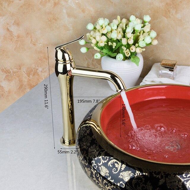 Monite 솔리드 브래스 경감 님이 황금 럭셔리 세라믹 화장실 욕실 탭 세면기 분지 싱크 세트 목욕 결합 믹서 수도꼭지