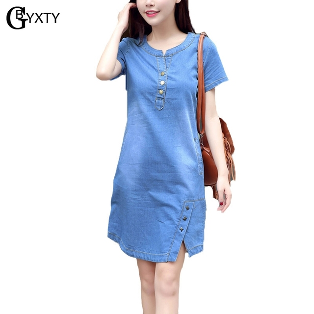 7390e0cceef2f US $15.2 31% OFF|GBYXTY Plus Size 3XL Women Summer Short Sleeve Jeans Dress  2018 New O Neck Casual Button A Line Denim Dress robe pull ZA062-in ...