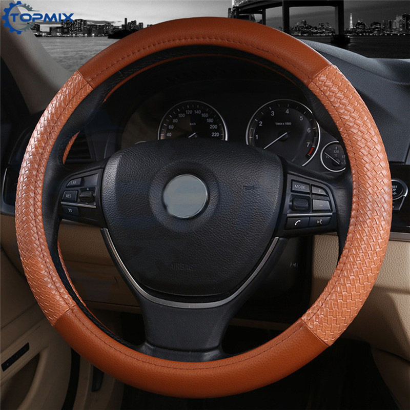 Universal 38CM Car Steering-wheel Cover Brown Leather Auto Steering Wheel Covers Non-slip Car-styling Accessories