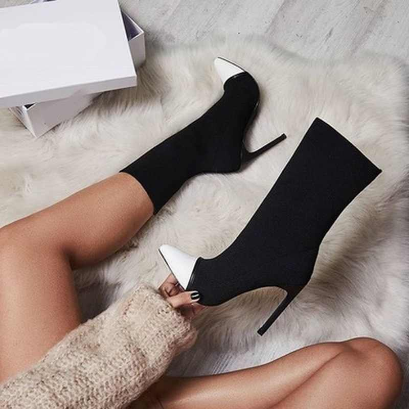 2019 yeni kadın yarım çizmeler streç kumaş sivri burun yüksek topuklu Slip-On seksi çorap topuklu Chelsea çizmeler boyutu 35 -42