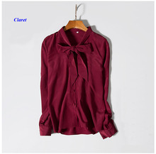New arrival pure silk lady standing collar long sleeve shirt,100% natural silk crepe-de-chine ribbon solid color women blouse