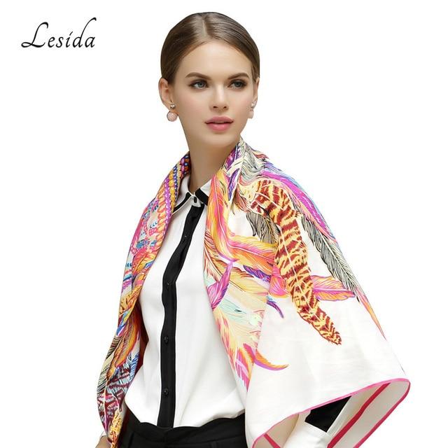LESIDA 100% Silk Scarf Women Large Shawls Feather Print Stoles Square Bandana Luxury Brand Kerchief Scarf Female Foulard 1306 2