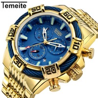 TEMEITE Military Big Size Quartz Watch Men 3 Sub dial 6 Hands Chronograph Golden Stainless Steel Strap Top Brand Luxury Clock