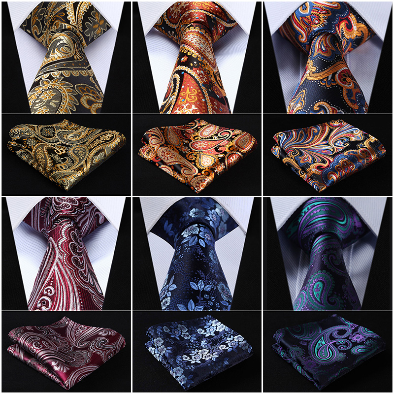 Poche Carré Classique Partie De Mariage Floral 3.4 Soie De Mariage Mens Extra Long Cravate XL Cravate Mouchoir Set # Q6