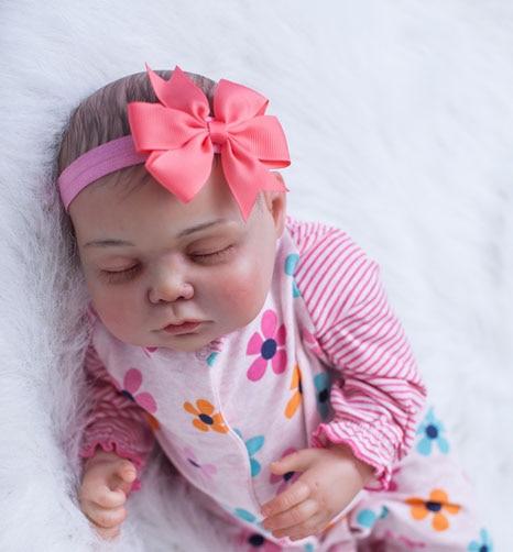 55cm Soft Baby Silicone Reborn Babies Girls Dolls Lifelike Princess Sleeping Newborn Baby-Reborn Birthday Gift Girl Brinquedos цена