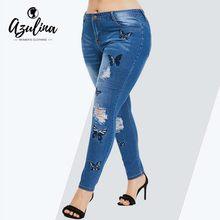 5d0eebc955d5a AZULINA плюс размеры бабочка проблемных женские джинсы с вышивкой брюки  Узкие Высокая талия карандаш брюки для