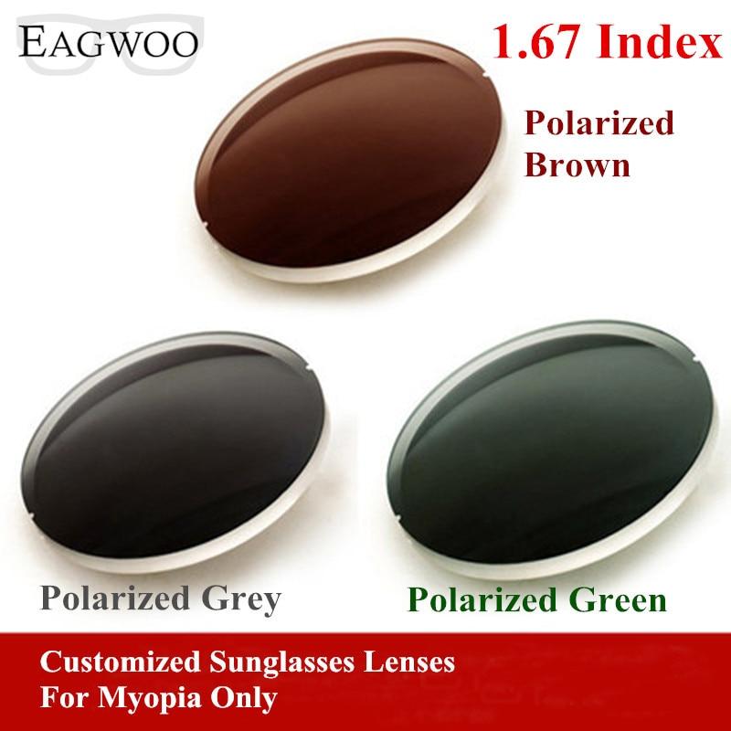 Eagwo 1.67 Index Prescription Sunglasses Polarized Lenses Grey Brown Green Sunglasses Lens for Myopia Anti UV Anti Glare 167