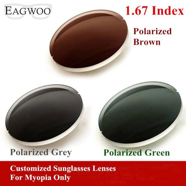 433c3de9adf08 Eagwo 1.67 Index Prescription Sunglasses Polarized Lenses Grey Brown Green  Sunglasses Lens for Myopia Anti UV Anti Glare 167