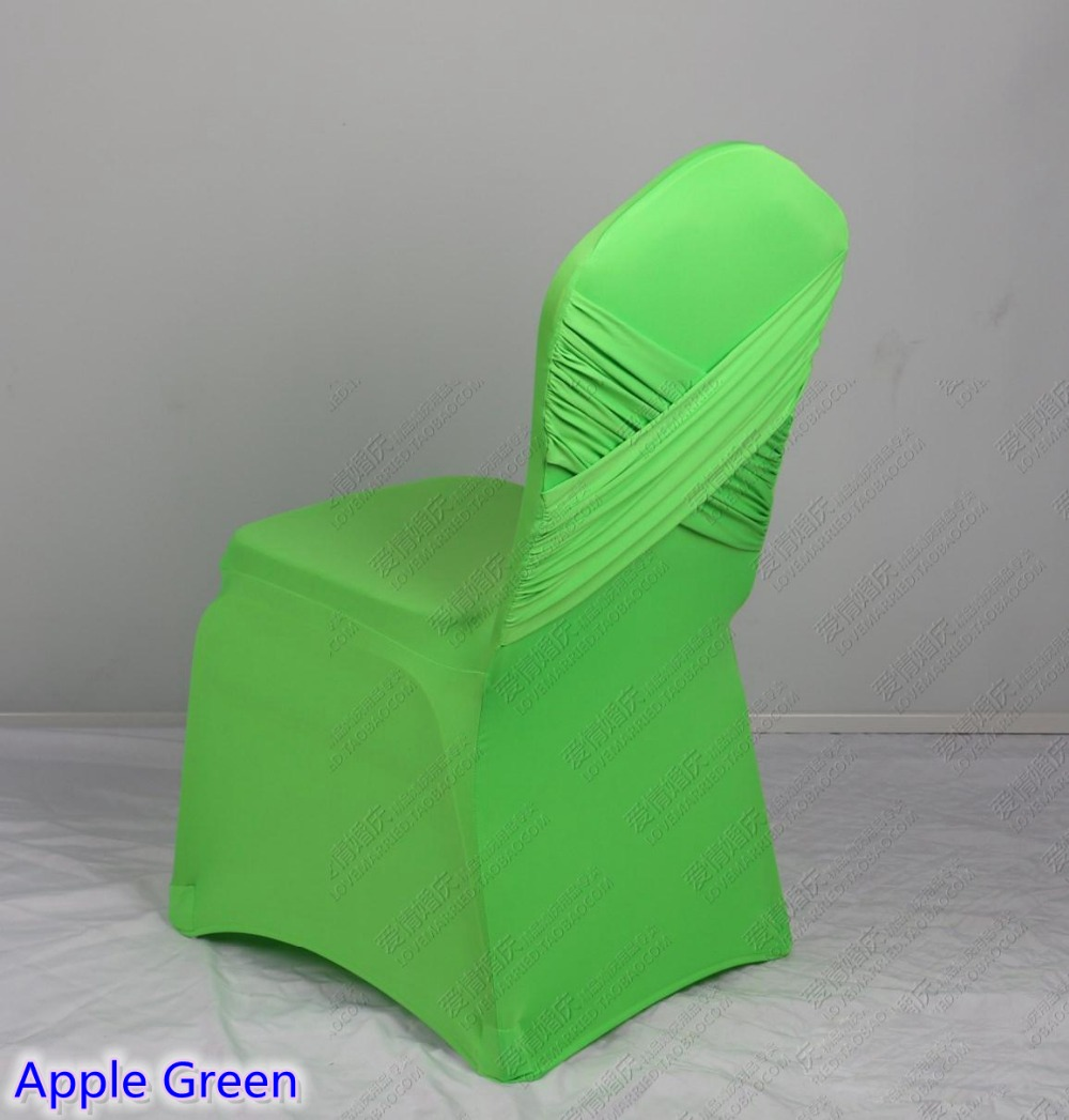 Apple Green Colour Universal Lycra Chair Covers Two Cross Spandex Swag Back  Cover Chair Luxury Wedding Party Decoration On Sale In Chair Cover From  Home ...