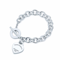 Heart Sterling Silver chain Bracelets 100% 925 Silver Heart Tag Bracelet Buckle Tiff New Bracelet To Woman Jewerly Original Logo