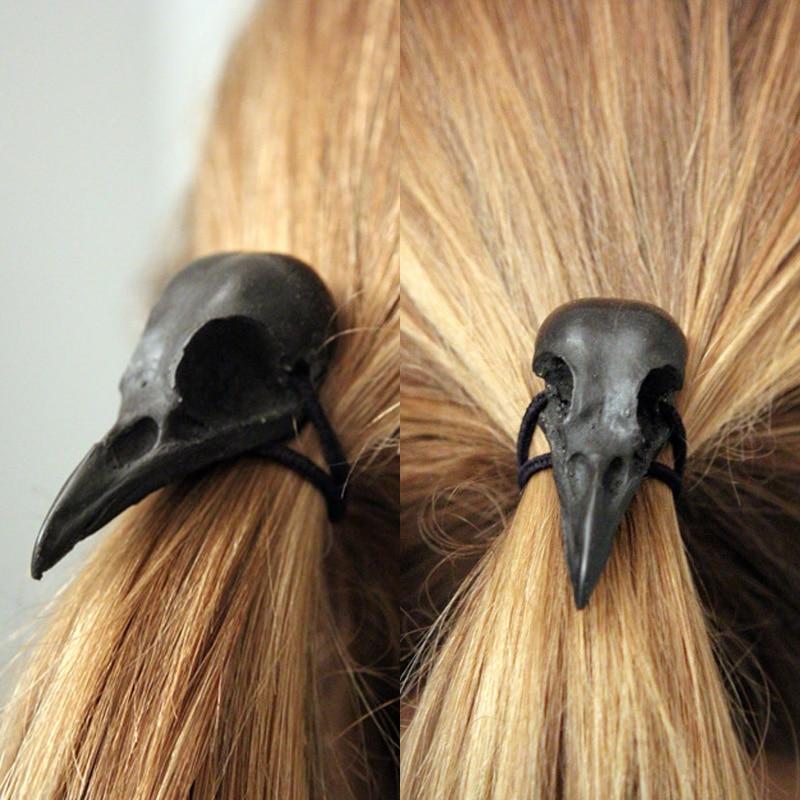 Punk Gothic Metal Crow Skull Hairband Pony Tail Holder Elastic Hair Rope Tie Headwear Women's Accessories