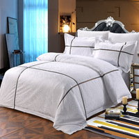 Bedding Set 4 Pieces Solid Color Satin Jacquard Quilt Cover Sheet Pillowcase Suitable For Home And