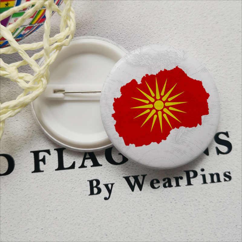 Insignias de botón de lata con mapa de bandera de maceña LGBT Gay arco iris