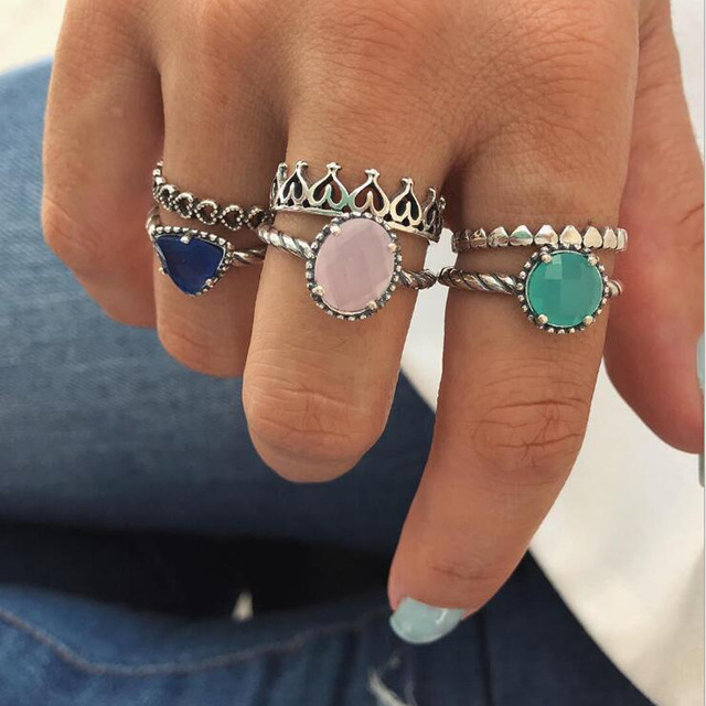 HuaTang Bohemian Antique Silver Ring Geometric Elephant Flower Green Rhinestone Knuckle Rings Midi Finger Anel Rings Jewelry 73