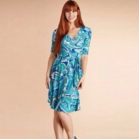 2014 Spring New Style Sexy V Neck Wrap Dress Temperament Lake Blue Belt Body Collection Knit